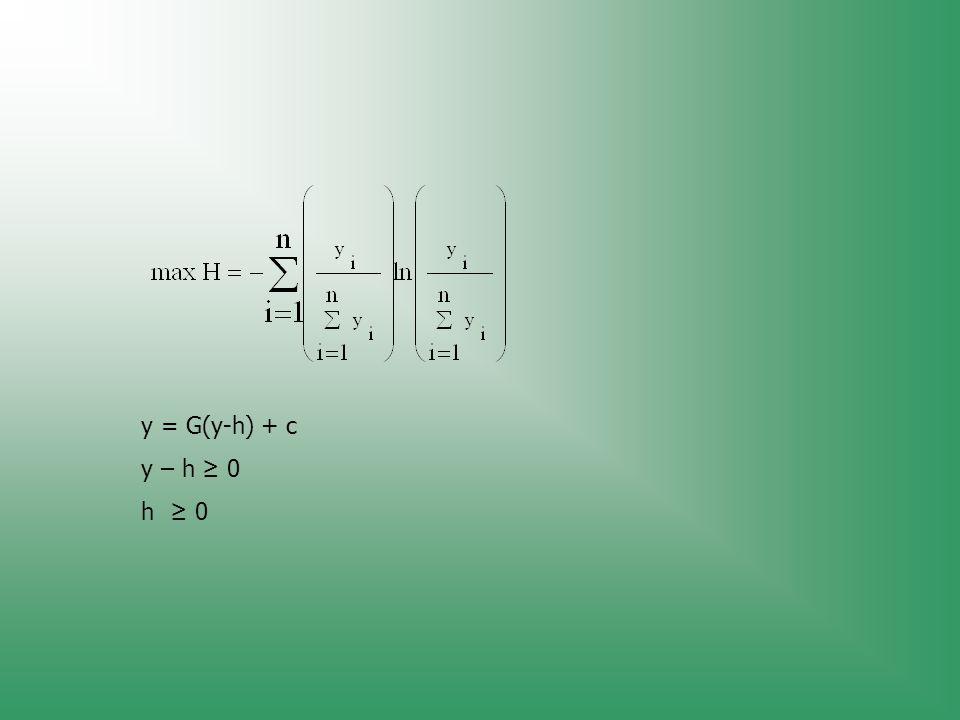 y = G(y-h) + c y – h ≥ 0 h ≥ 0