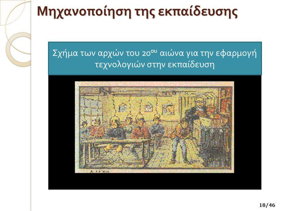 Μηχανοποίηση της εκπαίδευσης Σχήμα των αρχών του 20 ου αιώνα για την εφαρμογή τεχνολογιών στην εκ π αίδευση 18/46