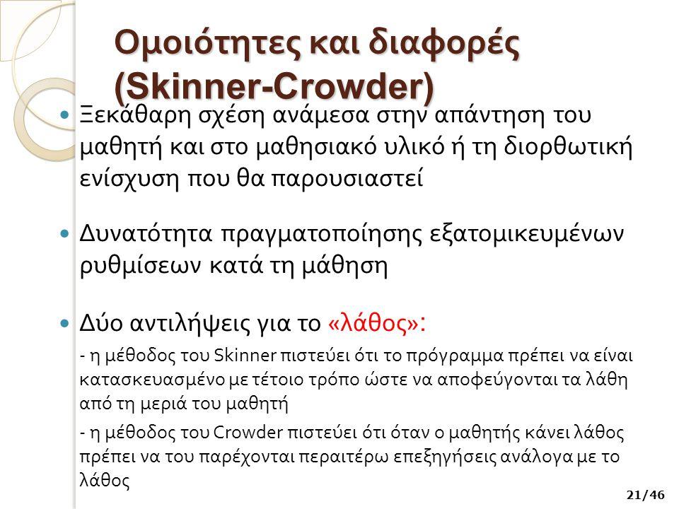 Ομοιότητες και διαφορές (Skinner-Crowder) Ξεκάθαρη σχέση ανάμεσα στην απάντηση του μαθητή και στο μαθησιακό υλικό ή τη διορθωτική ενίσχυση που θα παρο