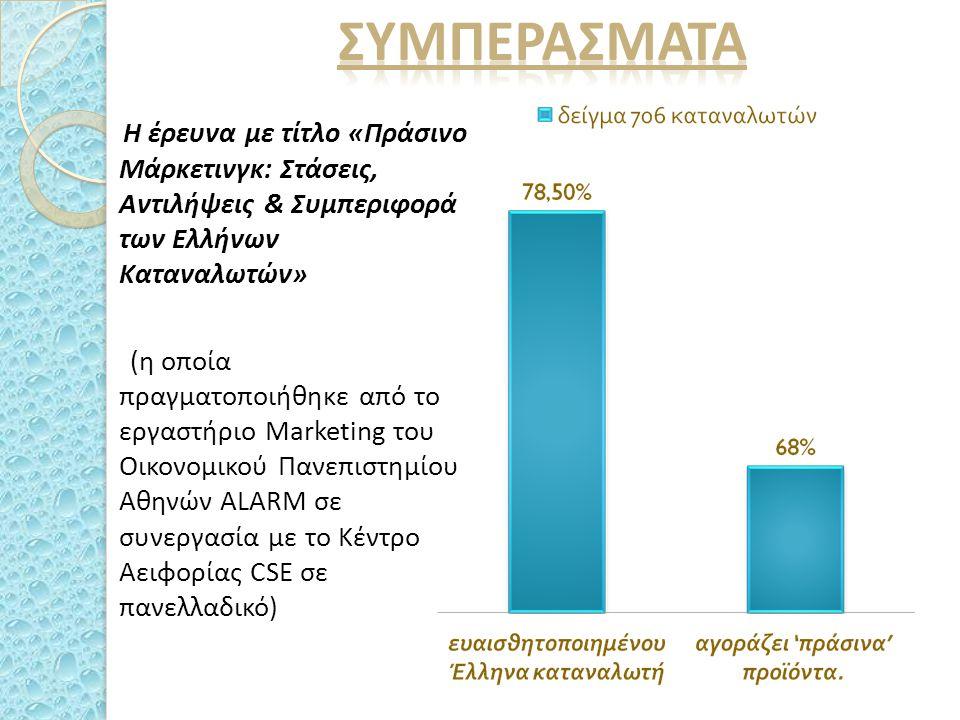 Η έρευνα με τίτλο «Πράσινο Μάρκετινγκ: Στάσεις, Αντιλήψεις & Συμπεριφορά των Ελλήνων Καταναλωτών» (η οποία πραγματοποιήθηκε από το εργαστήριο Μarketing του Οικονομικού Πανεπιστημίου Αθηνών ALARM σε συνεργασία με το Κέντρο Αειφορίας CSE σε πανελλαδικό)