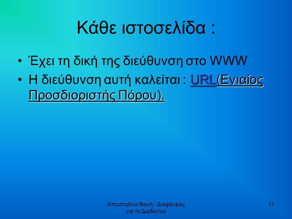 Αποστολίνα Φανή - Διαφάνειες για το Διαδίκτυο 11 Κάθε ιστοσελίδα : Έχει τη δική της διεύθυνση στο WWW URL(Ενιαίος Προσδιοριστής Πόρου).H διεύθυνση αυτή καλείται : URL(Ενιαίος Προσδιοριστής Πόρου).