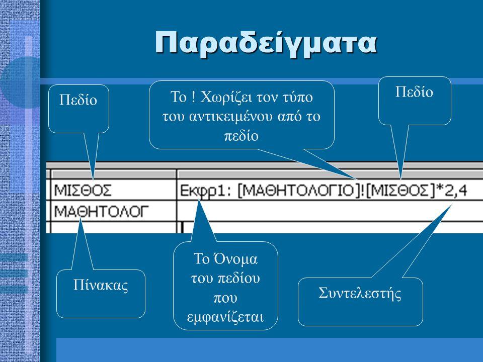 Παραδείγματα Πεδίο Πίνακας Το Όνομα του πεδίου που εμφανίζεται Συντελεστής Πεδίο Το .