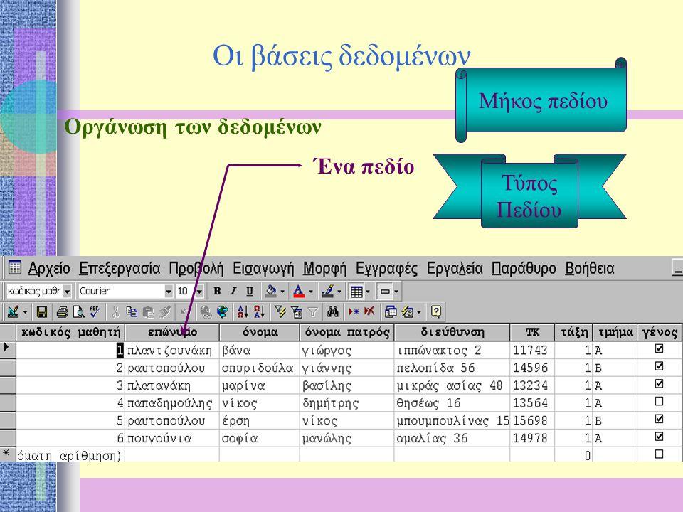 Οι βάσεις δεδομένων Οργάνωση των δεδομένων Ένα πεδίο Μία εγγραφή Μήκος πεδίου Τύπος Πεδίου