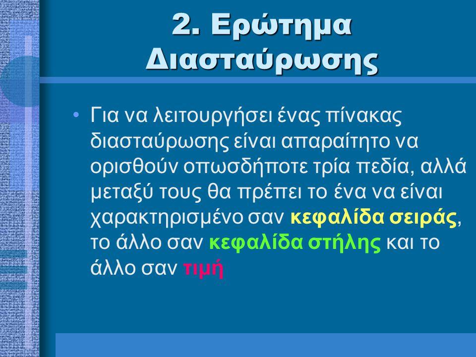 2. Ερώτημα Διασταύρωσης Για να λειτουργήσει ένας πίνακας διασταύρωσης είναι απαραίτητο να ορισθούν οπωσδήποτε τρία πεδία, αλλά μεταξύ τους θα πρέπει τ