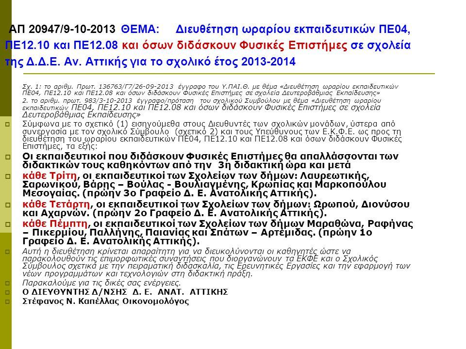 ΑΠ 20947/9-10-2013 ΘΕΜΑ: Διευθέτηση ωραρίου εκπαιδευτικών ΠΕ04, ΠΕ12.10 και ΠΕ12.08 και όσων διδάσκουν Φυσικές Επιστήμες σε σχολεία της Δ.Δ.Ε. Αν. Αττ