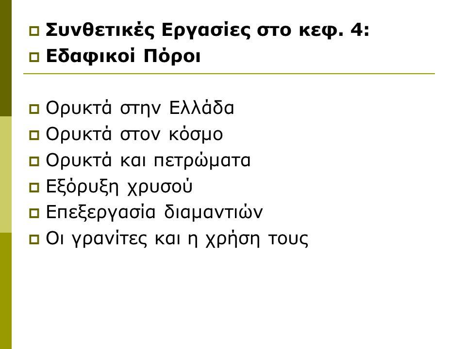  Συνθετικές Εργασίες στο κεφ. 4:  Εδαφικοί Πόροι  Ορυκτά στην Ελλάδα  Ορυκτά στον κόσμο  Ορυκτά και πετρώματα  Εξόρυξη χρυσού  Επεξεργασία διαμ