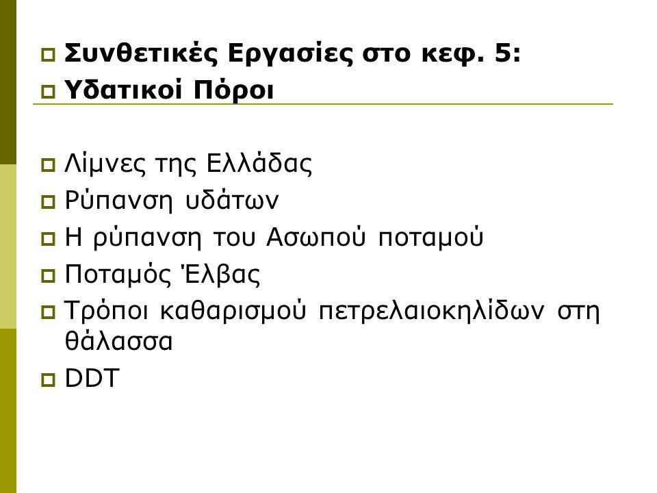  Συνθετικές Εργασίες στο κεφ. 5:  Υδατικοί Πόροι  Λίμνες της Ελλάδας  Ρύπανση υδάτων  Η ρύπανση του Ασωπού ποταμού  Ποταμός Έλβας  Τρόποι καθαρ