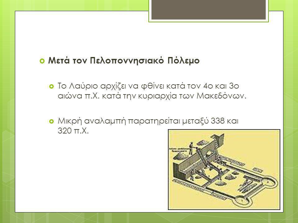  Μετά τον Πελοποννησιακό Πόλεμο  Το Λαύριο αρχίζει να φθίνει κατά τον 4ο και 3ο αιώνα π.Χ. κατά την κυριαρχία των Μακεδόνων.  Μικρή αναλαμπή παρατη