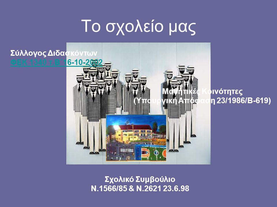 Το σχολείο μας Σύλλογος Διδασκόντων ΦΕΚ 1340 τ.Β΄16-10-2002 Σχολικό Συμβούλιο Ν.1566/85 & Ν.2621 23.6.98 Μαθητικές Κοινότητες (Υπουργική Απόφαση 23/19