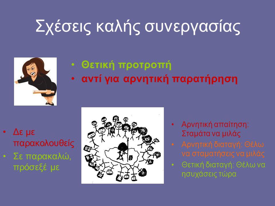 Σχέσεις καλής συνεργασίας Θετική προτροπή αντί για αρνητική παρατήρηση Δε με παρακολουθείς Σε παρακαλώ, πρόσεξέ με Αρνητική απαίτηση: Σταμάτα να μιλάς