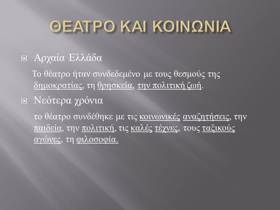  Αρχαία Ελλάδα Το θέατρο ήταν συνδεδεμένο με τους θεσμούς της δημοκρατίας, τη θρησκεία, την πολιτική ζωή.