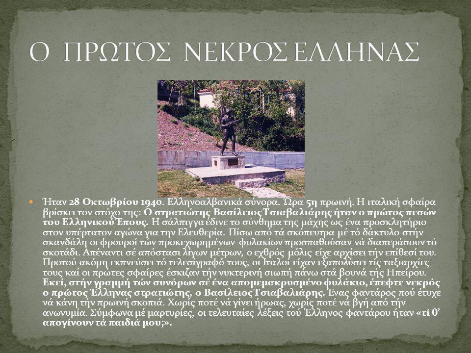 Ήταν 28 Οκτωβρίου 1940. Ελληνοαλβανικά σύνορα. Ώρα 5η πρωινή. Η ιταλική σφαίρα βρίσκει τον στόχο της: Ο στρατιώτης Βασίλειος Τσιαβαλιάρης ήταν ο πρώτο