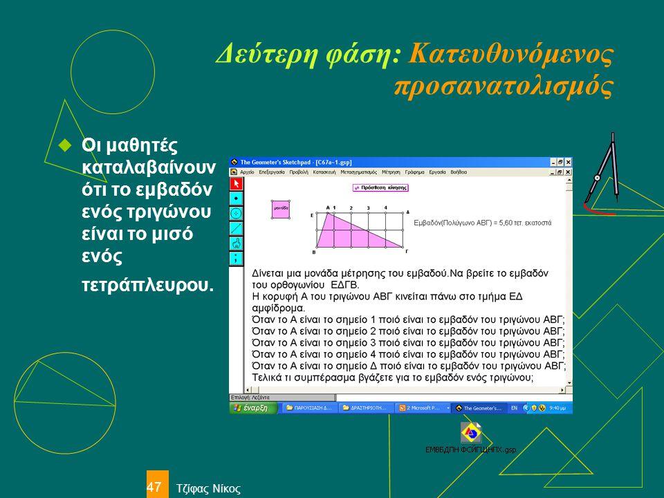 Τζίφας Νίκος 47 Δεύτερη φάση: Κατευθυνόμενος προσανατολισμός  Οι μαθητές καταλαβαίνουν ότι το εμβαδόν ενός τριγώνου είναι το μισό ενός τετράπλευρου.