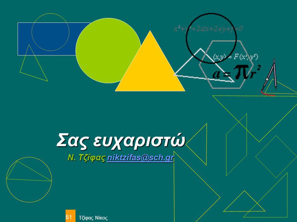 Τζίφας Νίκος 51 Σας ευχαριστώ Ν. Τζίφας niktzifas@sch.gr niktzifas@sch.gr