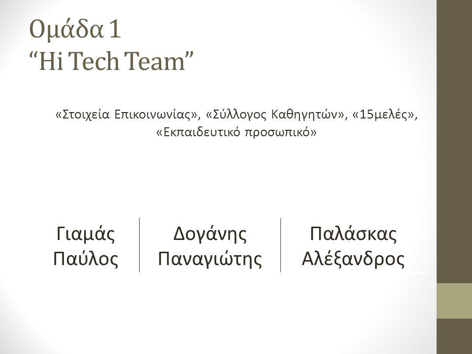 Ομάδα 1 Hi Tech Team «Στοιχεία Επικοινωνίας», «Σύλλογος Καθηγητών», «15μελές», «Εκπαιδευτικό προσωπικό» Γιαμάς Παύλος Δογάνης Παναγιώτης Παλάσκας Αλέξανδρος