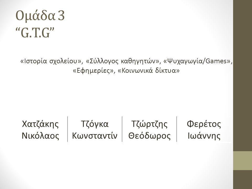 Ομάδα 3 G.T.G «Ιστορία σχολείου», «Σύλλογος καθηγητών», «Ψυχαγωγία/Games», «Εφημερίες», «Κοινωνικά δίκτυα» Χατζάκης Νικόλαος Τζόγκα Κωνσταντίν Τζώρτζης Θεόδωρος Φερέτος Ιωάννης