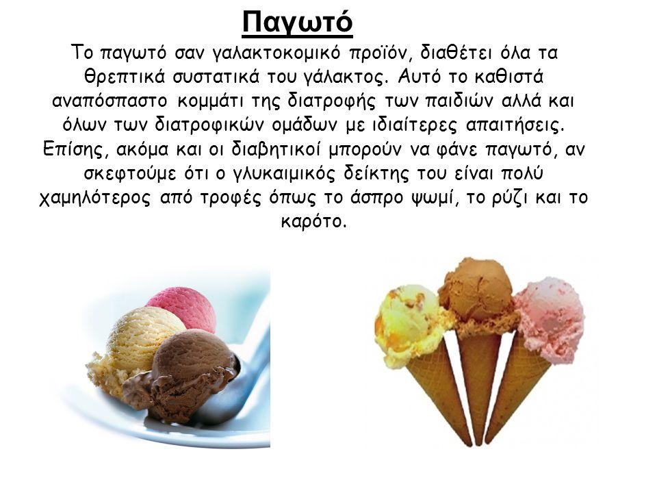 Παγωτό Το παγωτό σαν γαλακτοκομικό προϊόν, διαθέτει όλα τα θρεπτικά συστατικά του γάλακτος. Αυτό το καθιστά αναπόσπαστο κομμάτι της διατροφής των παιδ
