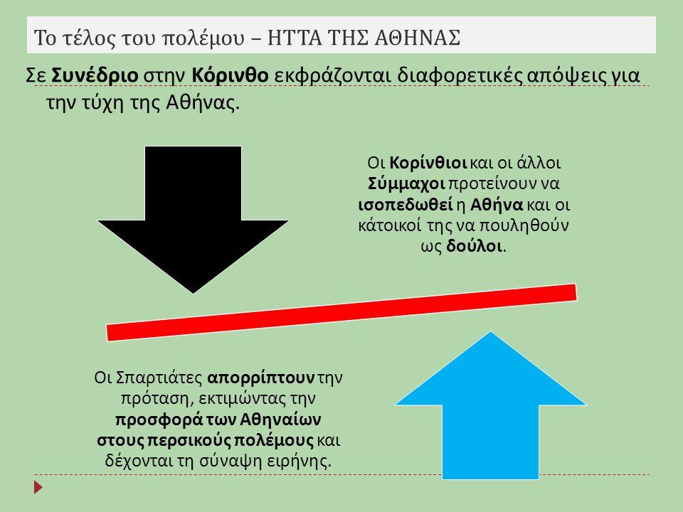 Το τέλος του πολέμου – ΗΤΤΑ ΤΗΣ ΑΘΗΝΑΣ Οι Κορίνθιοι και οι άλλοι Σύμμαχοι π ροτείνουν να ισο π εδωθεί η Αθήνα και οι κάτοικοί της να π ουληθούν ως δού