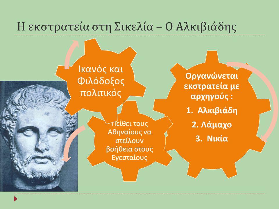 Η εκστρατεία στη Σικελία – Ο Αλκιβιάδης Οργανώνεται εκστρατεία με αρχηγούς : 1. Αλκιβιάδη 2. Λάμαχο 3. Νικία Πείθει τους Αθηναίους να στείλουν βοήθεια