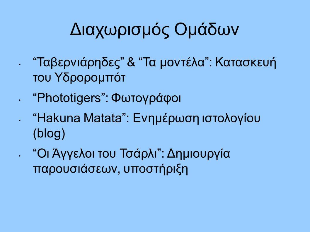"""Διαχωρισμός Ομάδων """"Ταβερνιάρηδες"""" & """"Τα μοντέλα"""": Κατασκευή του Υδρορομπότ """"Phototigers"""": Φωτογράφοι """"Hakuna Matata"""": Ενημέρωση ιστολογίου (blog) """"Οι"""