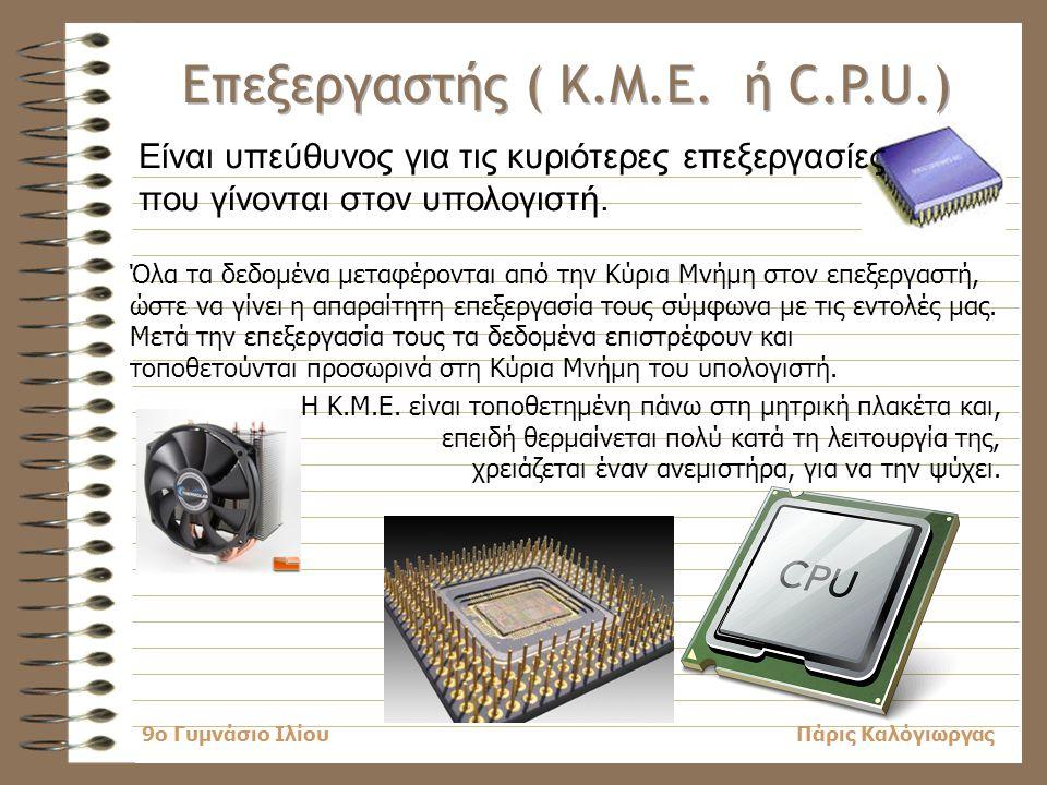 Κεφάλαιο 2 Επεξεργαστής (Κ.Μ.Ε. ή C.P.U.) 2.2 Εσωτερικές Κάρτες 2.3 Θύρες Σύνδεσης