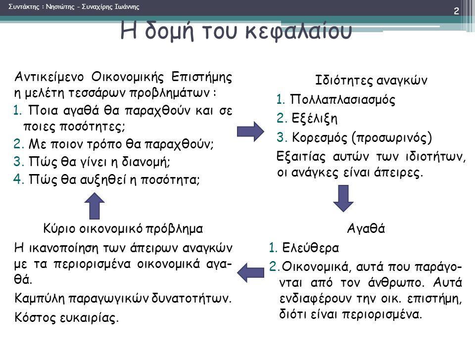 Η δομή του κεφαλαίου Αντικείμενο Οικονομικής Επιστήμης η μελέτη τεσσάρων προβλημάτων : 1.