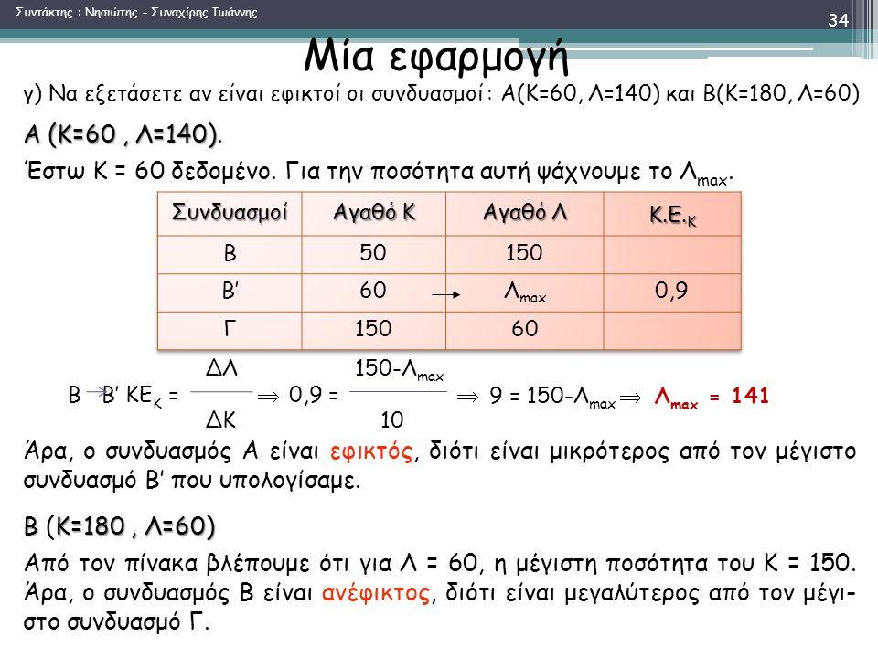 Μία εφαρμογή Α (Κ=60, Λ=140) Α (Κ=60, Λ=140).Έστω Κ = 60 δεδομένο.