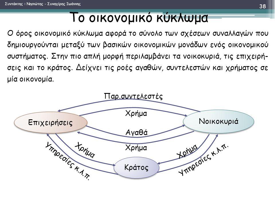 Το οικονομικό κύκλωμα Ο όρος οικονομικό κύκλωμα αφορά το σύνολο των σχέσεων συναλλαγών που δημιουργούνται μεταξύ των βασικών οικονομικών μονάδων ενός οικονομικού συστήματος.