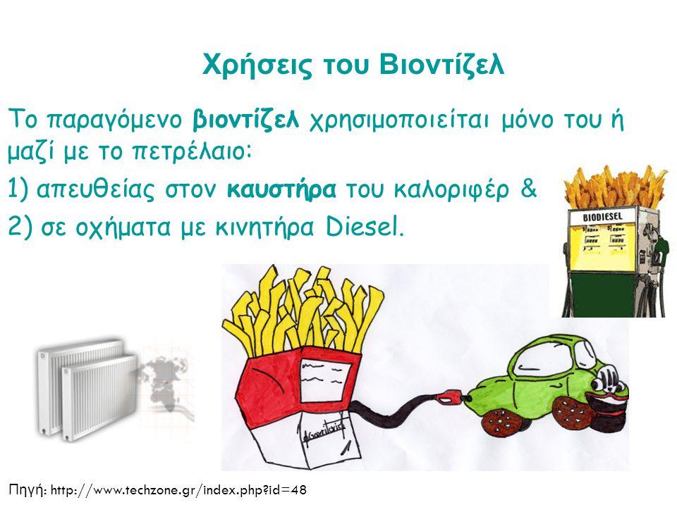 Χρήσεις του Βιοντίζελ Το παραγόμενο βιοντίζελ χρησιμοποιείται μόνο του ή μαζί με το πετρέλαιο: 1) απευθείας στον καυστήρα του καλοριφέρ & 2) σε οχήματα με κινητήρα Diesel.