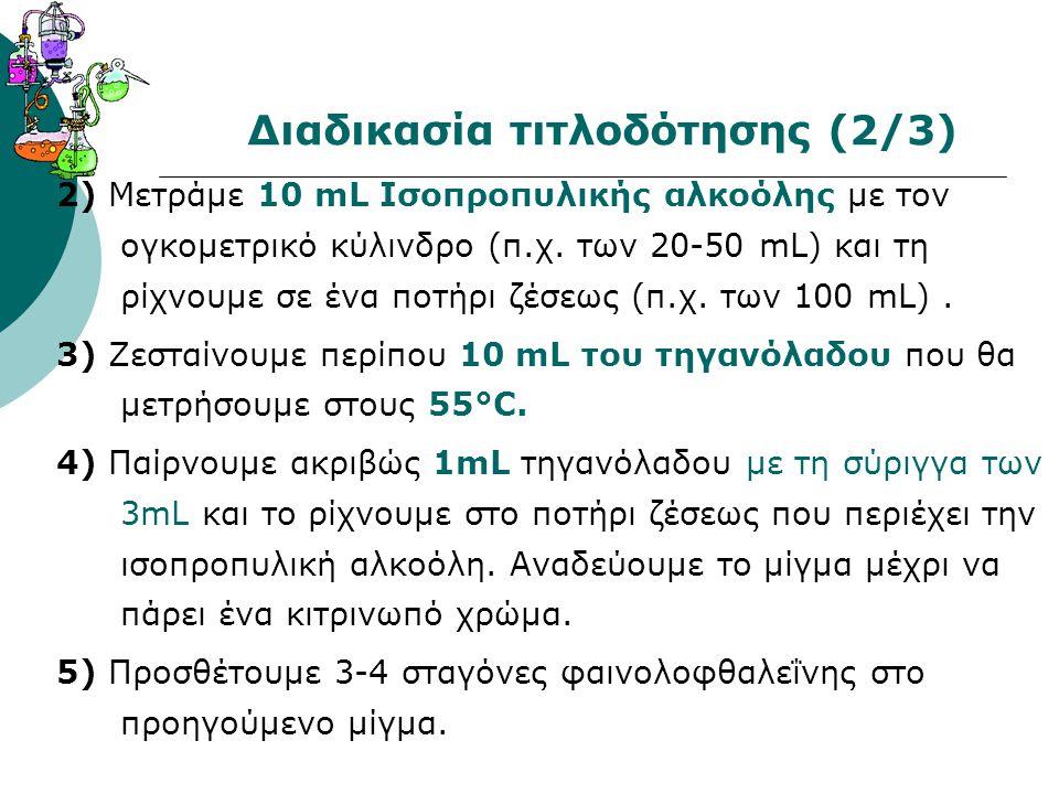 Διαδικασία τιτλοδότησης (2/3) 2) Μετράμε 10 mL Ισοπροπυλικής αλκοόλης με τον ογκομετρικό κύλινδρο (π.χ.