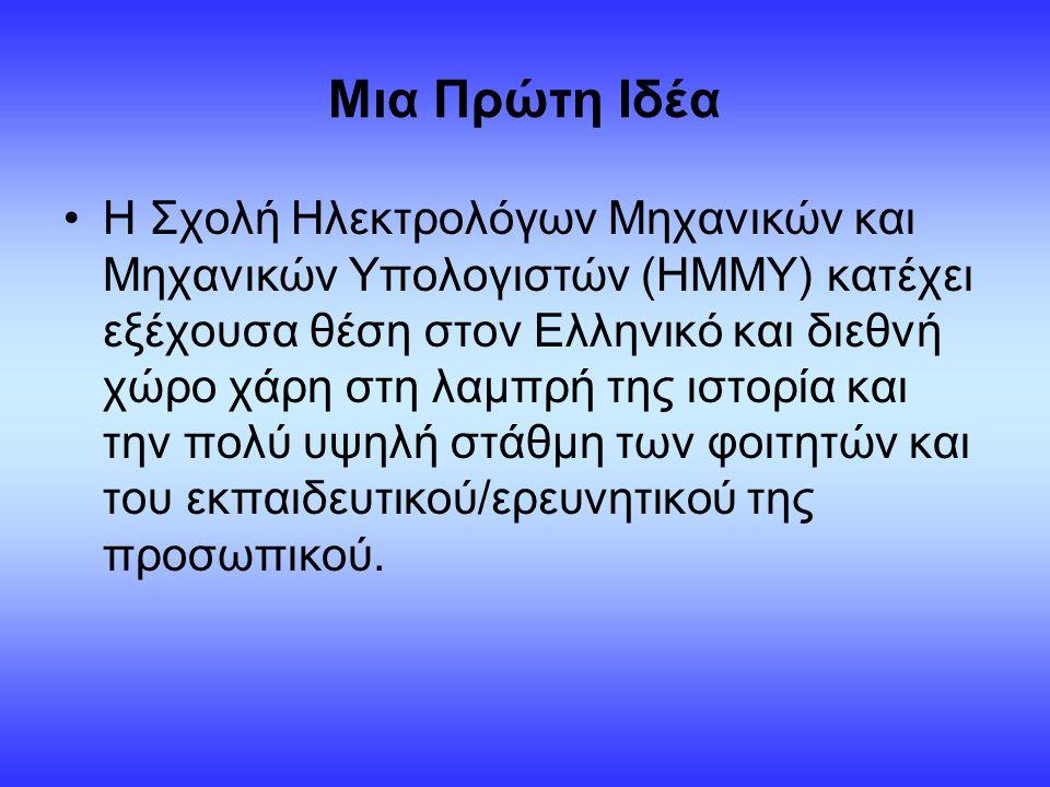Μια Πρώτη Ιδέα Η Σχολή Ηλεκτρολόγων Μηχανικών και Μηχανικών Υπολογιστών (ΗΜΜΥ) κατέχει εξέχουσα θέση στον Ελληνικό και διεθνή χώρο χάρη στη λαμπρή της ιστορία και την πολύ υψηλή στάθμη των φοιτητών και του εκπαιδευτικού/ερευνητικού της προσωπικού.