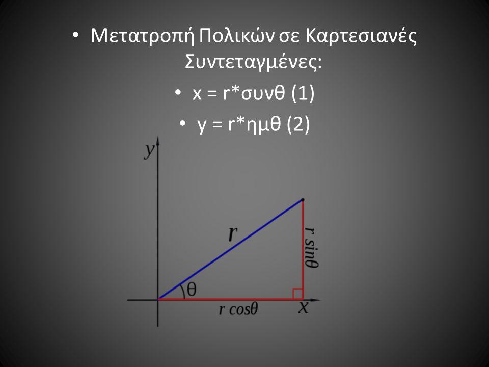 Μετατροπή Πολικών σε Καρτεσιανές Συντεταγμένες: x = r*συνθ (1) y = r*ημθ (2)