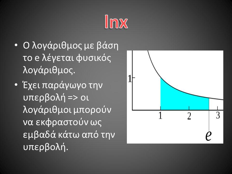 Ο λογάριθμος με βάση το e λέγεται φυσικός λογάριθμος.