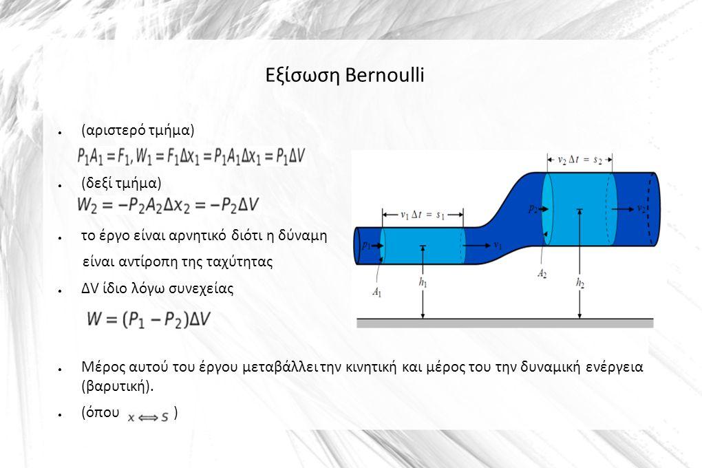 Εξίσωση Bernoulli ● (αριστερό τμήμα) ● (δεξί τμήμα) ● το έργο είναι αρνητικό διότι η δύναμη είναι αντίροπη της ταχύτητας ● ΔV ίδιο λόγω συνεχείας ● Μέ