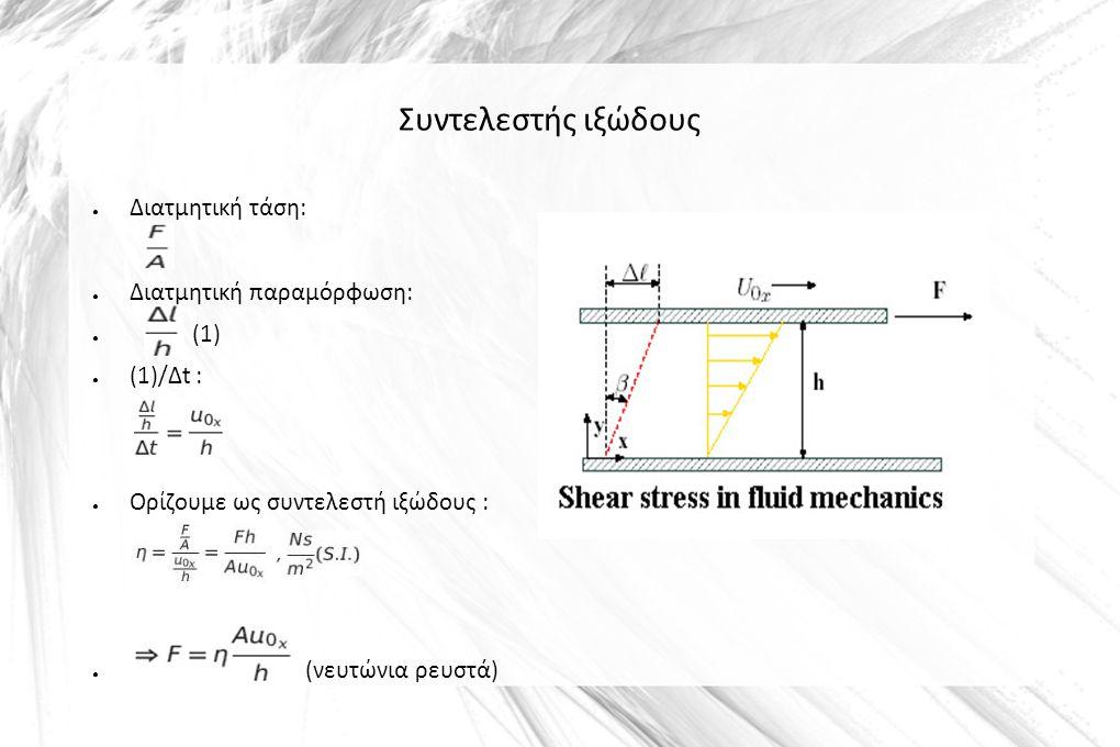 Συντελεστής ιξώδους ● Διατμητική τάση: ● Διατμητική παραμόρφωση: ● (1) ● (1)/Δt : ● Ορίζουμε ως συντελεστή ιξώδους : ● (νευτώνια ρευστά)