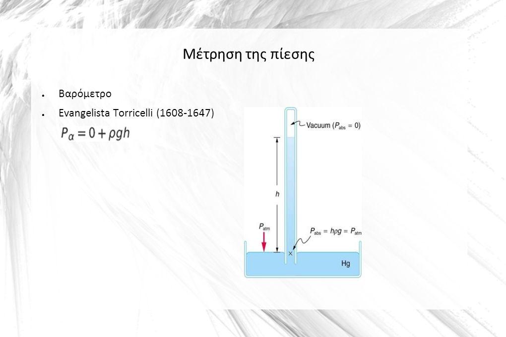 Μέτρηση της πίεσης ● Βαρόμετρο ● Evangelista Torricelli (1608-1647)