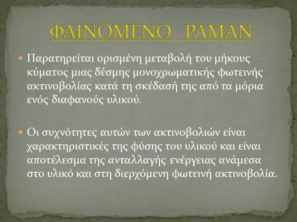 Στο σχήμα 2 (δεξιά) παρουσιάζονται οι βασικές αρχές του κρίσιμου πειράματος του Ραμάν.