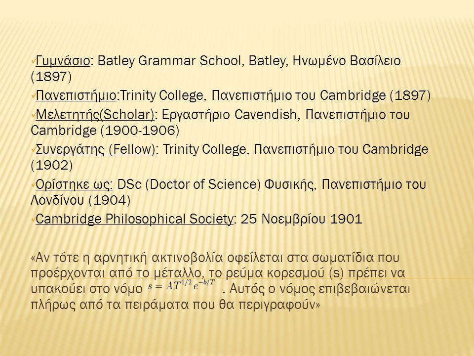  Καθηγητής : Φυσικής, Πανεπιστήμιο Princeton (1906-1913)  Εργάστηκε εκεί : στη θερμιονική εκπομπή, την φωτοηλεκτρική δράση (photoelectric action), και το γυρομαγνητικό φαινόμενο (gyromagnetic effect)  Αμερικανική Φιλοσοφική Εταιρεία : 1911 ( ως Ξένο μέλος -Foreign Member)  Βασιλική Εταιρεία : 1913  Διορίστηκε : Καθηγητής Φυσικής Wheatstone (Wheatstone Professor of Physics), King s College του Πανεπιστημίου του Λονδίνου (1914-1944)