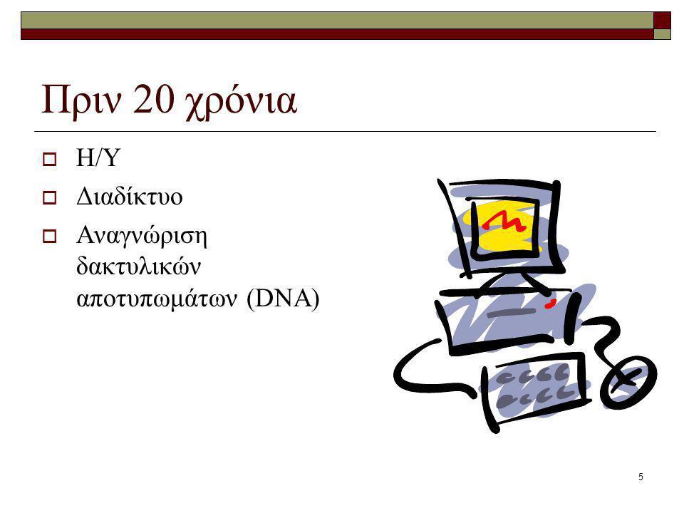 5 Πριν 20 χρόνια  Η/Υ  Διαδίκτυο  Αναγνώριση δακτυλικών αποτυπωμάτων (DNA)