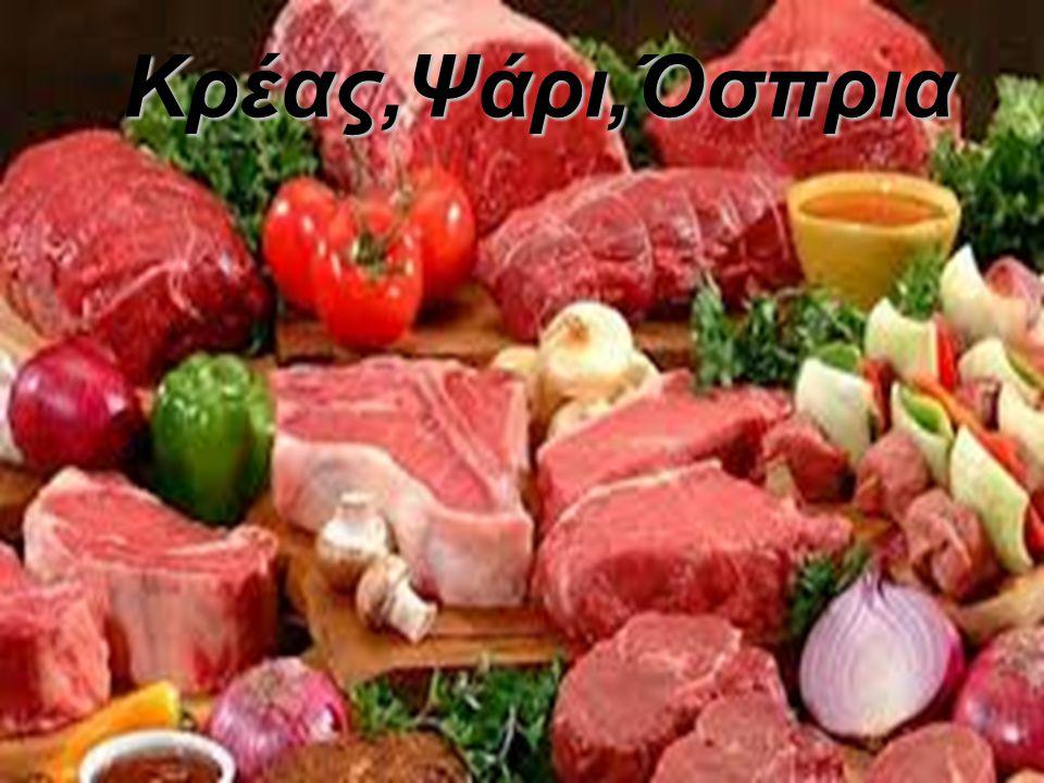 ΚΡΕΑΣ ΕΙΔΗ: Κόκκινο κρέας (μοσχάρι, βοδινό, χοιρινό, αρνί, κατσίκι) Πουλερικά (κοτόπουλο, γαλόπουλα, πάπια κ.ά) Εντόσθια (συκώτι,πνευμόνια,έντερα κ.ά)
