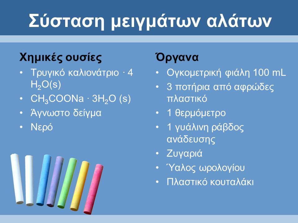 Σύσταση μειγμάτων αλάτων Όργανα Ογκομετρική φιάλη 100 mL 3 ποτήρια από αφρώδες πλαστικό 1 θερμόμετρο 1 γυάλινη ράβδος ανάδευσης Ζυγαριά Ύαλος ωρολογίου Πλαστικό κουταλάκι Χημικές ουσίες Τρυγικό καλιονάτριο · 4 Η 2 Ο(s) CH 3 COONa · 3Η 2 Ο (s) Άγνωστο δείγμα Νερό