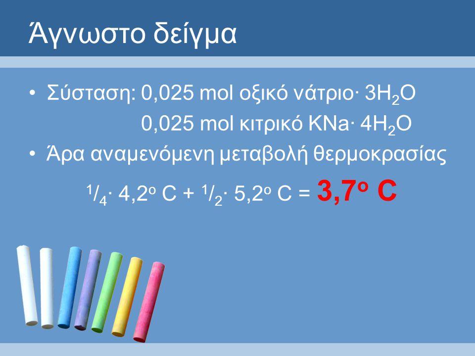 Άγνωστο δείγμα Σύσταση: 0,025 mol οξικό νάτριο· 3Η 2 Ο 0,025 mol κιτρικό ΚNa· 4Η 2 Ο Άρα αναμενόμενη μεταβολή θερμοκρασίας 1 / 4 · 4,2 ο C + 1 / 2 · 5,2 ο C = 3,7 ο C