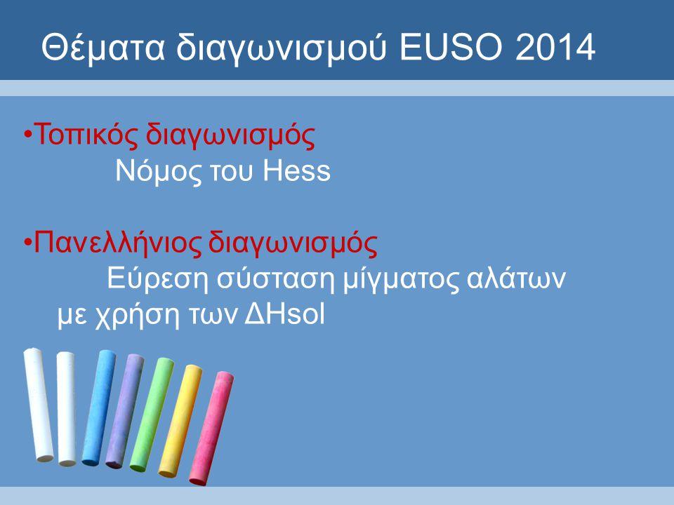 Θέματα διαγωνισμού EUSO 2014 Τοπικός διαγωνισμός Νόμος του Hess Πανελλήνιος διαγωνισμός Εύρεση σύσταση μίγματος αλάτων με χρήση των ΔHsol
