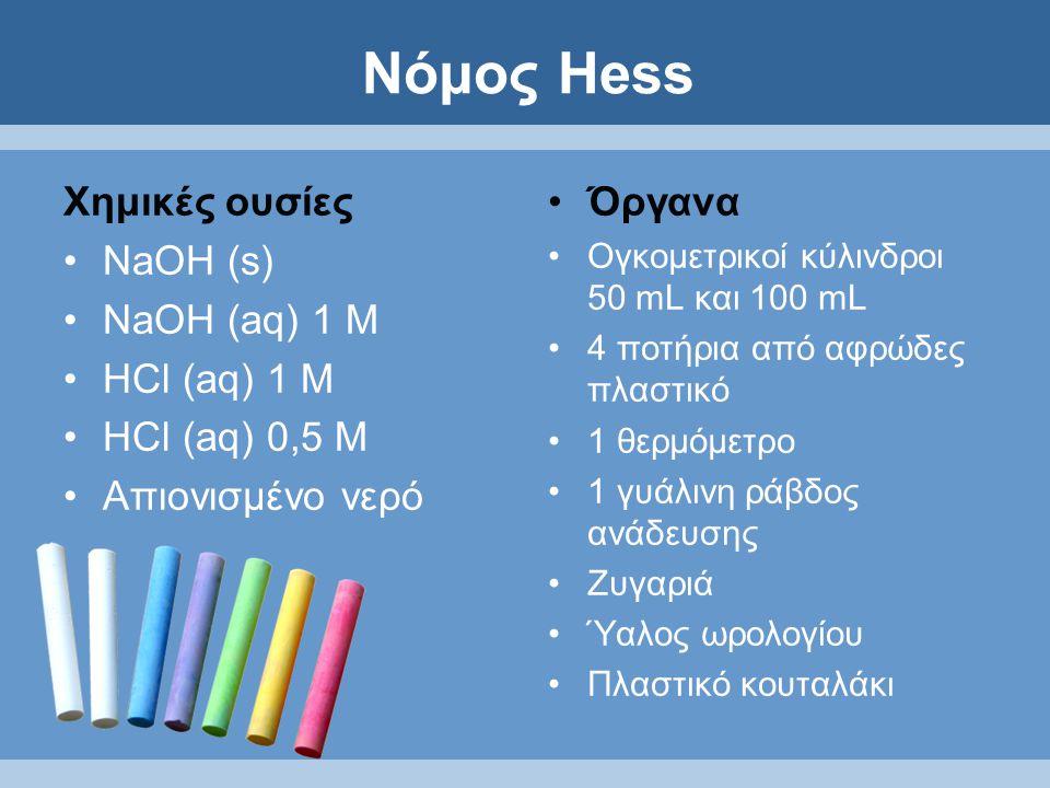 Νόμος Hess Χημικές ουσίες NaOH (s) NaOH (aq) 1 M HCl (aq) 1 M HCl (aq) 0,5 M Απιονισμένο νερό Όργανα Ογκομετρικοί κύλινδροι 50 mL και 100 mL 4 ποτήρια από αφρώδες πλαστικό 1 θερμόμετρο 1 γυάλινη ράβδος ανάδευσης Ζυγαριά Ύαλος ωρολογίου Πλαστικό κουταλάκι