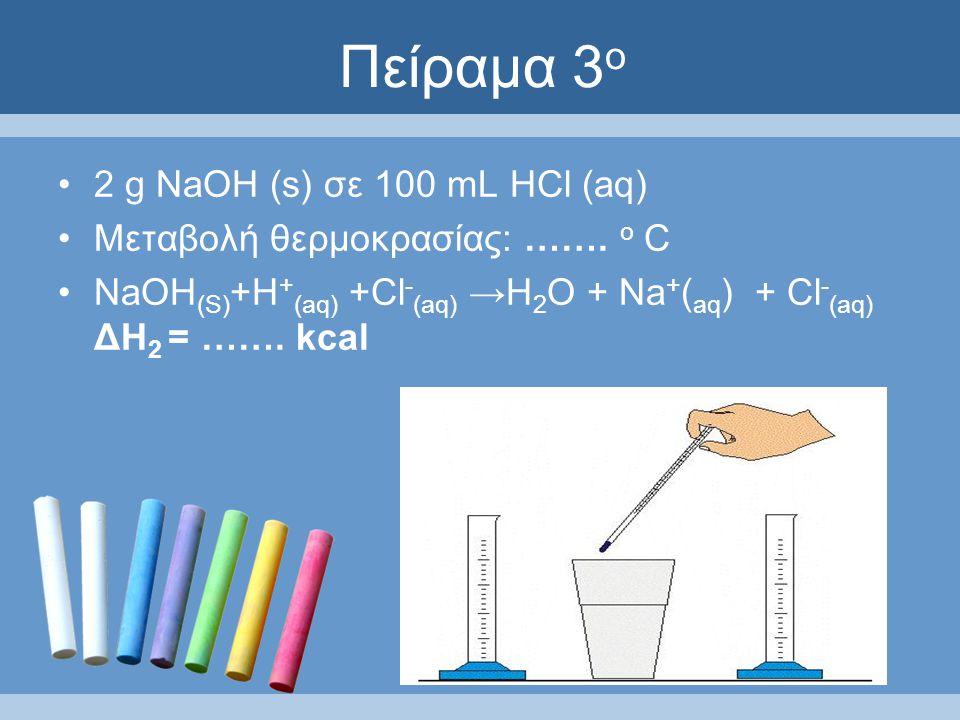 Πείραμα 3 ο 2 g ΝaOH (s) σε 100 mL HCl (aq) Μεταβολή θερμοκρασίας: …….