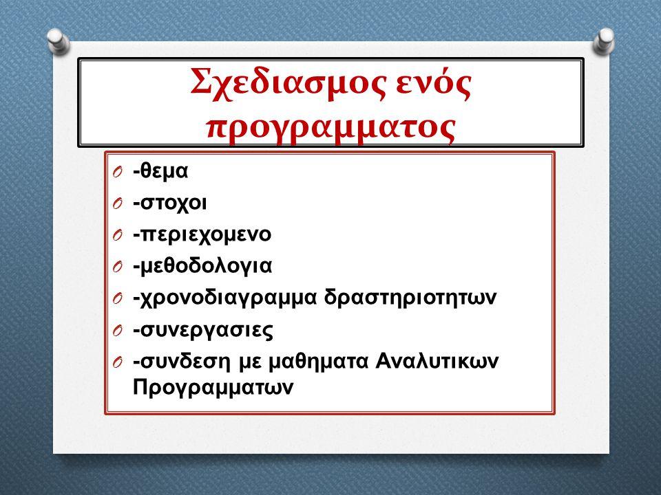 Σχεδιασμος ενός προγραμματος O -θεμα O -στοχοι O -περιεχομενο O -μεθοδολογια O -χρονοδιαγραμμα δραστηριοτητων O -συνεργασιες O -συνδεση με μαθηματα Αν