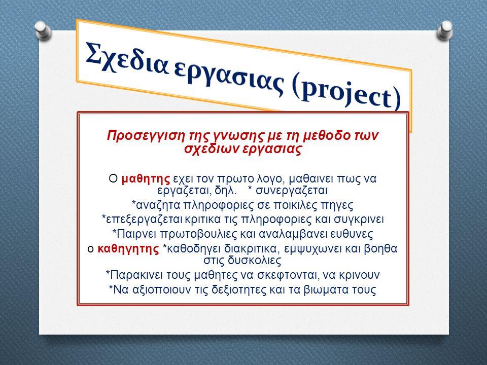 Προσεγγιση της γνωσης με τη μεθοδο των σχεδιων εργασιας Ο μαθητης εχει τον πρωτο λογο, μαθαινει πως να εργαζεται, δηλ. * συνεργαζεται *αναζητα πληροφο