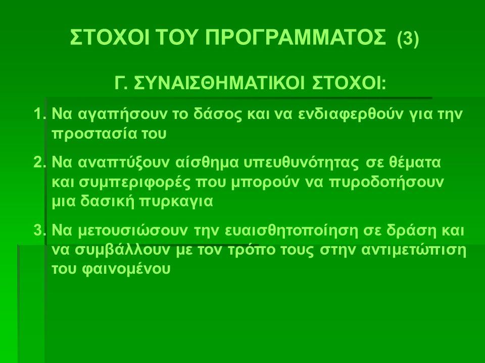 ΣΤΟΧΟΙ ΤΟΥ ΠΡΟΓΡΑΜΜΑΤΟΣ (3) Γ. ΣΥΝΑΙΣΘΗΜΑΤΙΚΟΙ ΣΤΟΧΟΙ: 1.Να αγαπήσουν το δάσος και να ενδιαφερθούν για την προστασία του 2.Να αναπτύξουν αίσθημα υπευθ