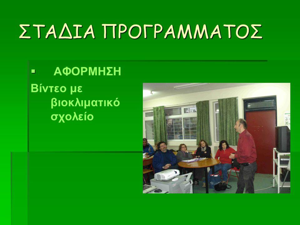 ΣΤΑΔΙΑ ΠΡΟΓΡΑΜΜΑΤΟΣ   ΑΦΟΡΜΗΣΗ Βίντεο με βιοκλιματικό σχολείο