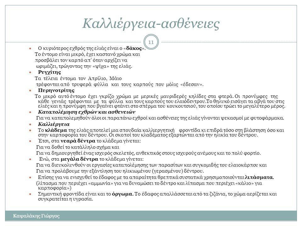 10 Η ελιά του Πλάτωνα (επίσκεψη στο Γεωπονικό Πανεπιστήμιο 5-12-2011) Από την Ελιά του Ερεχθείου σύμφωνα με τους θρύλους, δημιουργήθηκαν οι δώδεκα ελι